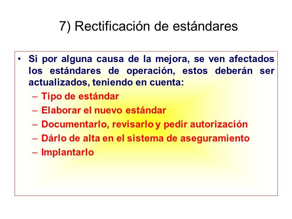 7) Rectificación de estándares Si por alguna causa de la mejora, se ven afectados los estándares de operación, estos deberán ser actualizados, teniend
