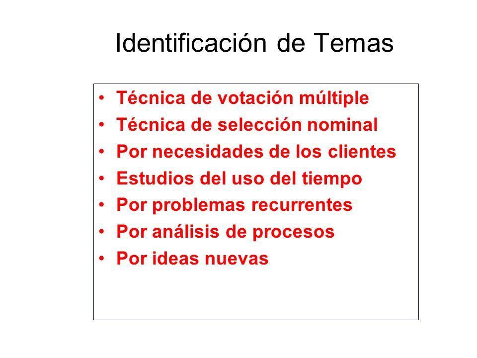 Identificación de Temas Técnica de votación múltiple Técnica de selección nominal Por necesidades de los clientes Estudios del uso del tiempo Por prob