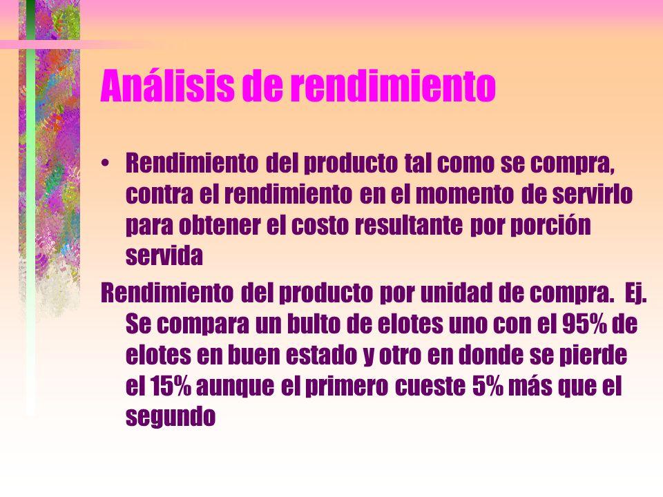 Análisis de rendimiento Rendimiento del producto tal como se compra, contra el rendimiento en el momento de servirlo para obtener el costo resultante