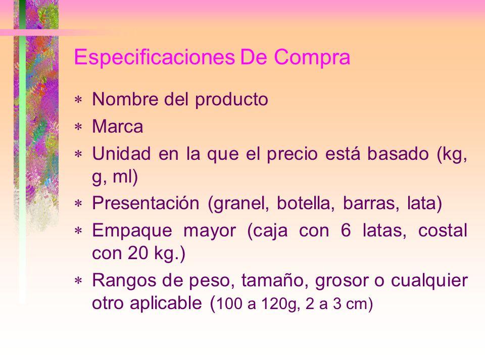 Especificaciones De Compra Nombre del producto Marca Unidad en la que el precio está basado (kg, g, ml) Presentación (granel, botella, barras, lata) E
