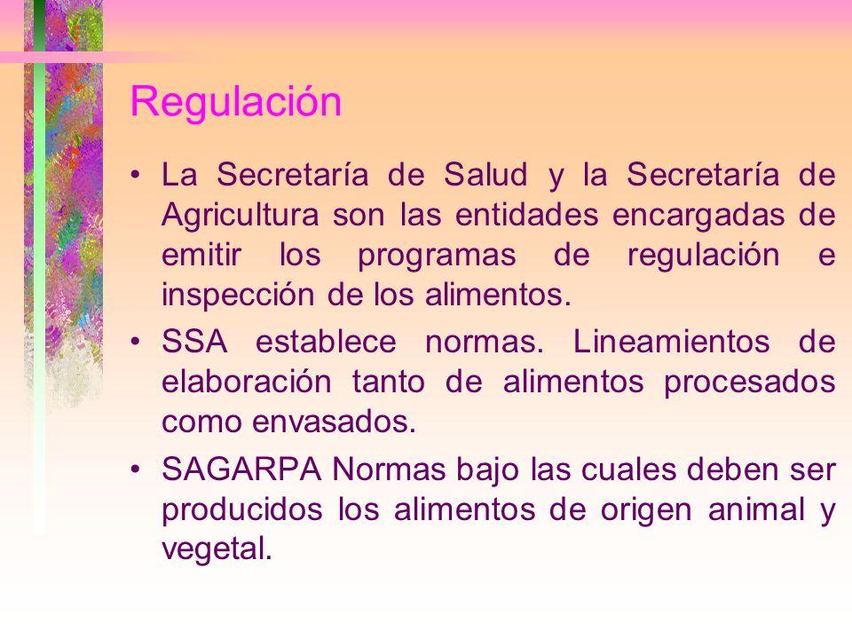 Regulación La Secretaría de Salud y la Secretaría de Agricultura son las entidades encargadas de emitir los programas de regulación e inspección de lo