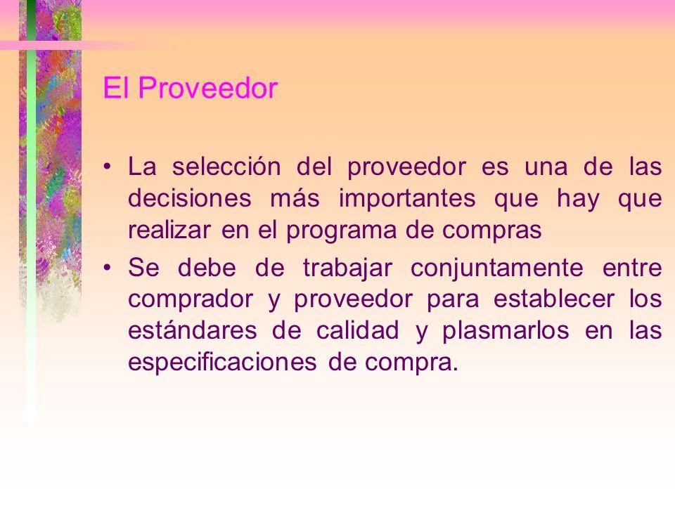 El Proveedor La selección del proveedor es una de las decisiones más importantes que hay que realizar en el programa de compras Se debe de trabajar co