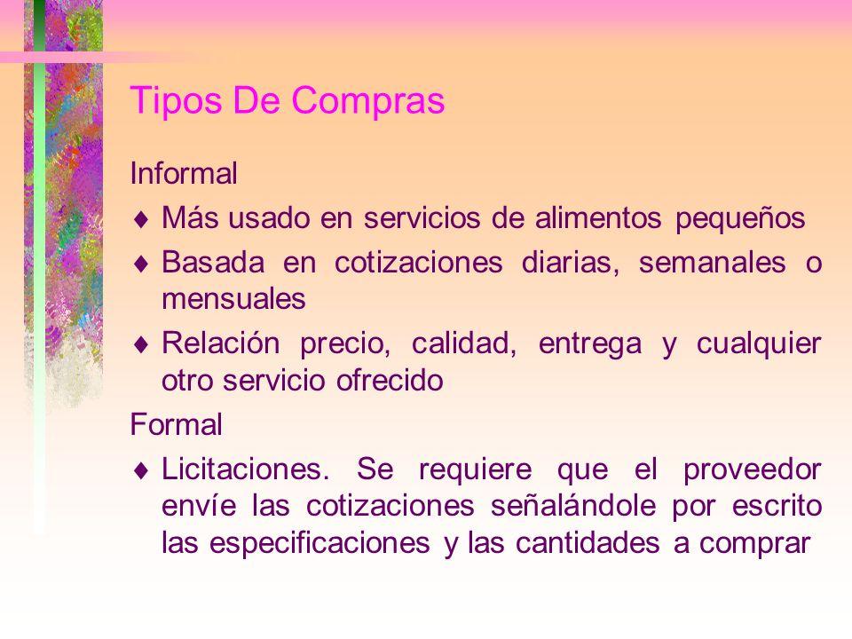 Tipos De Compras Informal Más usado en servicios de alimentos pequeños Basada en cotizaciones diarias, semanales o mensuales Relación precio, calidad,