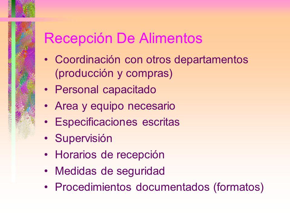 Recepción De Alimentos Coordinación con otros departamentos (producción y compras) Personal capacitado Area y equipo necesario Especificaciones escrit