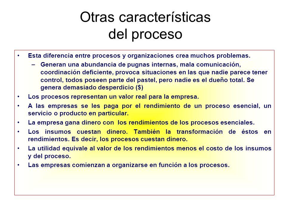 Otras características del proceso Esta diferencia entre procesos y organizaciones crea muchos problemas. –Generan una abundancia de pugnas internas, m