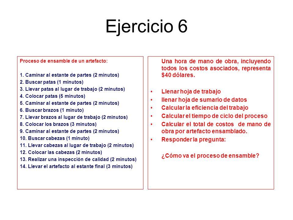 Ejercicio 6 Proceso de ensamble de un artefacto: 1. Caminar al estante de partes (2 minutos) 2. Buscar patas (1 minutos) 3. Llevar patas al lugar de t