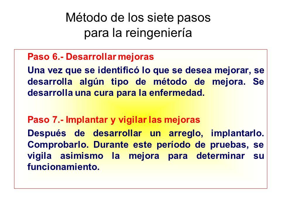 Método de los siete pasos para la reingeniería Paso 6.- Desarrollar mejoras Una vez que se identificó lo que se desea mejorar, se desarrolla algún tip