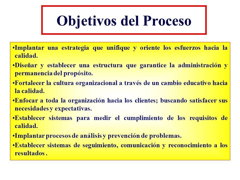 Objetivos del Proceso Implantar una estrategia que unifique y oriente los esfuerzos hacia la calidad. Diseñar y establecer una estructura que garantic