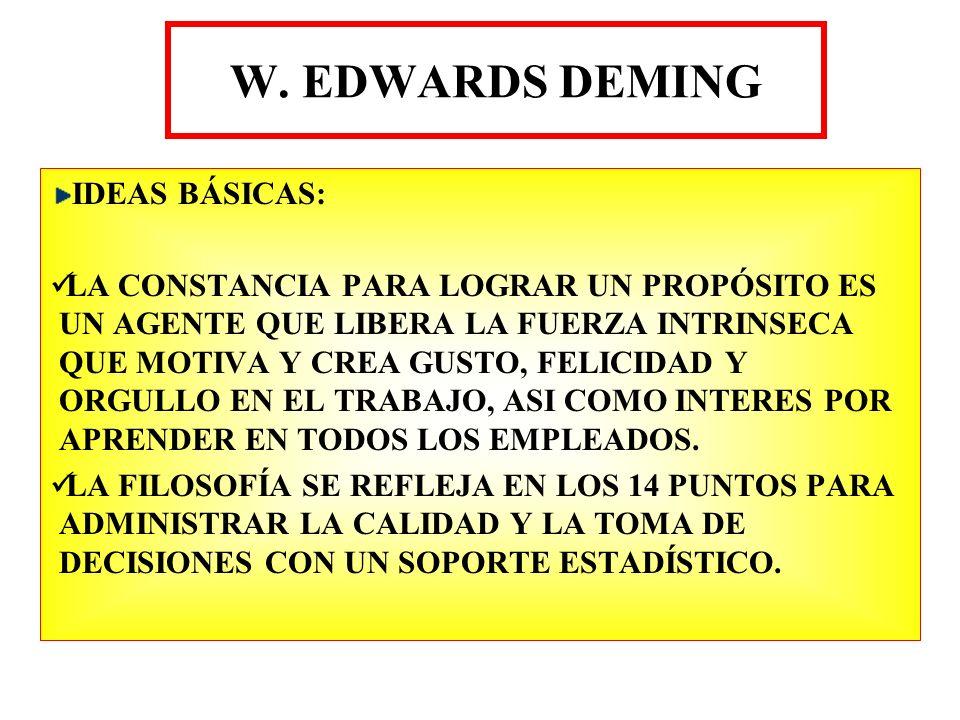 W. EDWARDS DEMING IDEAS BÁSICAS: LA CONSTANCIA PARA LOGRAR UN PROPÓSITO ES UN AGENTE QUE LIBERA LA FUERZA INTRINSECA QUE MOTIVA Y CREA GUSTO, FELICIDA