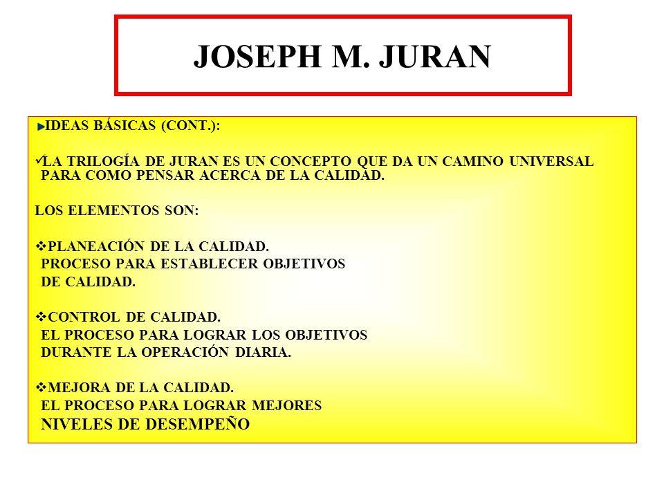 JOSEPH M. JURAN IDEAS BÁSICAS (CONT.): LA TRILOGÍA DE JURAN ES UN CONCEPTO QUE DA UN CAMINO UNIVERSAL PARA COMO PENSAR ACERCA DE LA CALIDAD. LOS ELEME