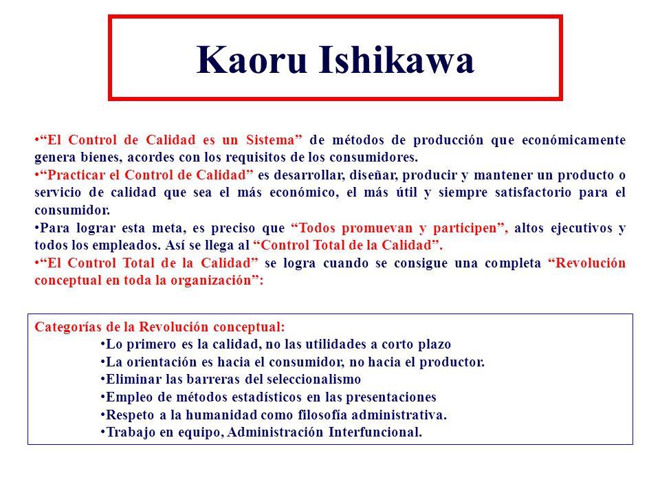 Kaoru Ishikawa El Control de Calidad es un Sistema de métodos de producción que económicamente genera bienes, acordes con los requisitos de los consum