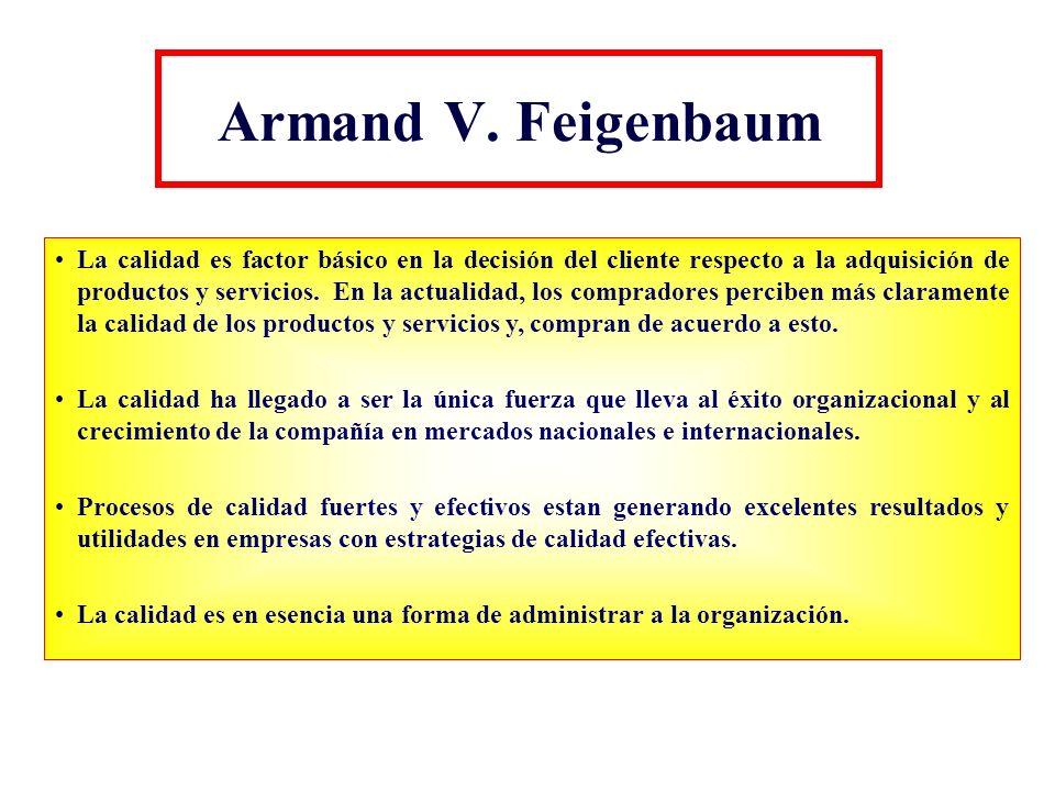 Armand V. Feigenbaum La calidad es factor básico en la decisión del cliente respecto a la adquisición de productos y servicios. En la actualidad, los