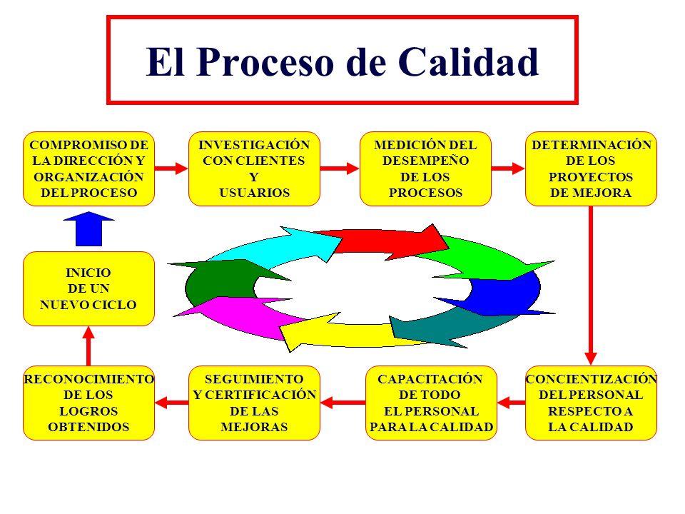 El Proceso de Calidad COMPROMISO DE LA DIRECCIÓN Y ORGANIZACIÓN DEL PROCESO INVESTIGACIÓN CON CLIENTES Y USUARIOS MEDICIÓN DEL DESEMPEÑO DE LOS PROCES