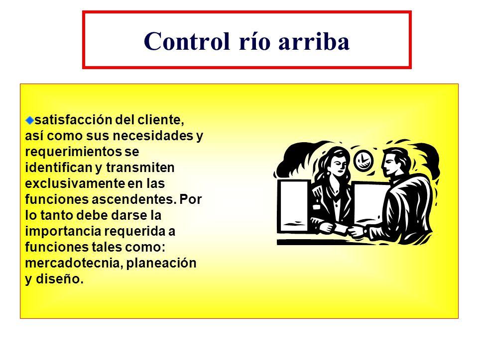 Control río arriba satisfacción del cliente, así como sus necesidades y requerimientos se identifican y transmiten exclusivamente en las funciones asc