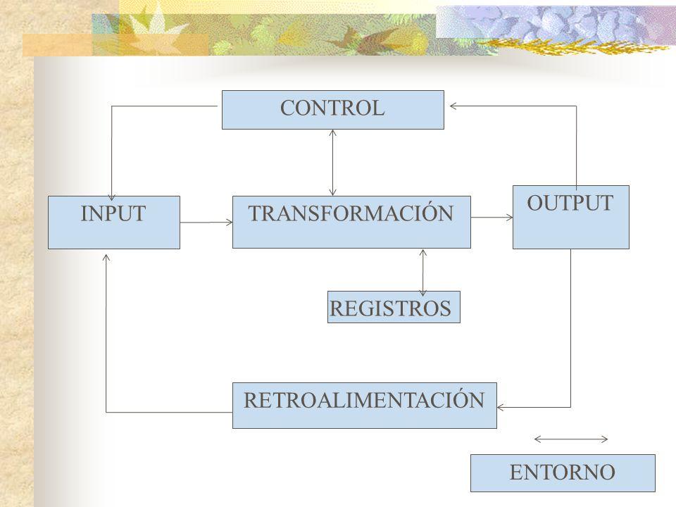 CONTROL OUTPUT INPUTTRANSFORMACIÓN RETROALIMENTACIÓN REGISTROS ENTORNO