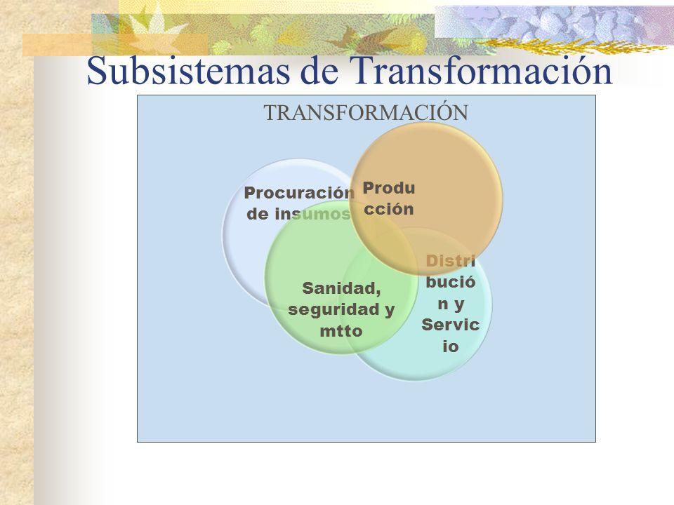 TRANSFORMACIÓN Procuración de insumos Distri bució n y Servic io Sanidad, seguridad y mtto Produ cción Subsistemas de Transformación