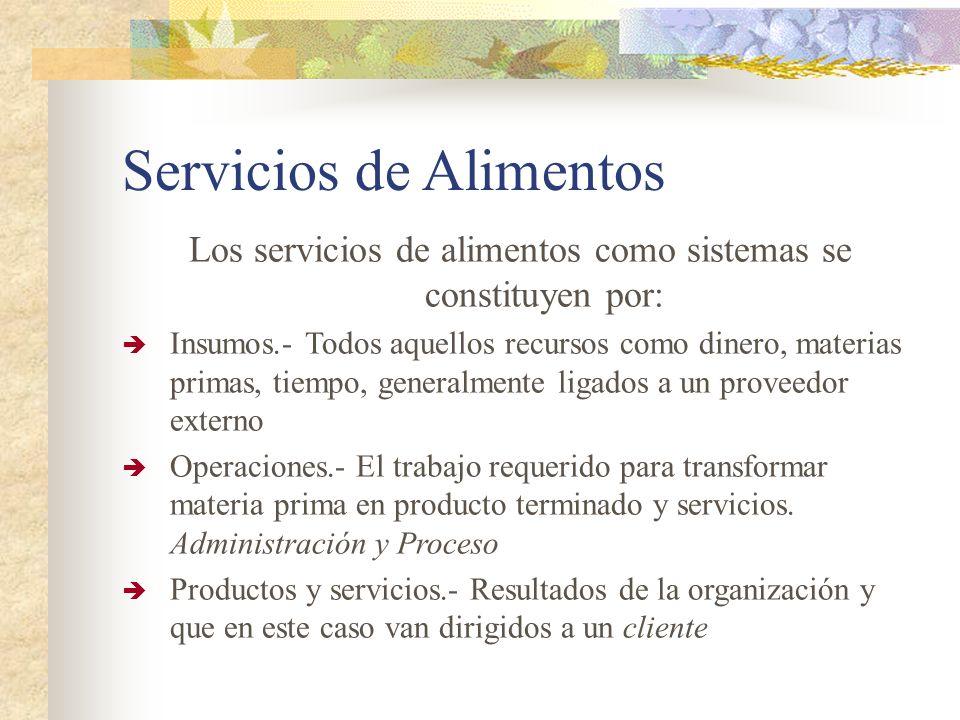 Servicios de Alimentos Los servicios de alimentos como sistemas se constituyen por: Insumos.- Todos aquellos recursos como dinero, materias primas, ti
