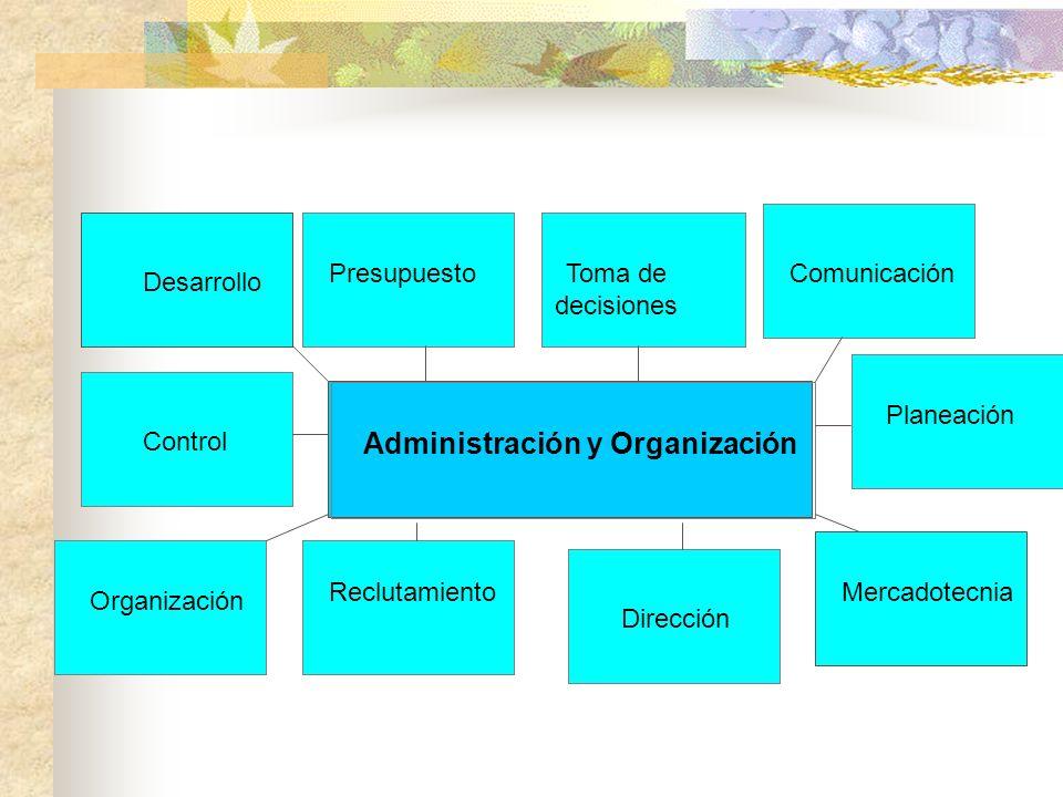 Organización Reclutamiento Dirección Control Mercadotecnia Planeación ComunicaciónToma de decisiones Presupuesto Desarrollo Administración y Organizac