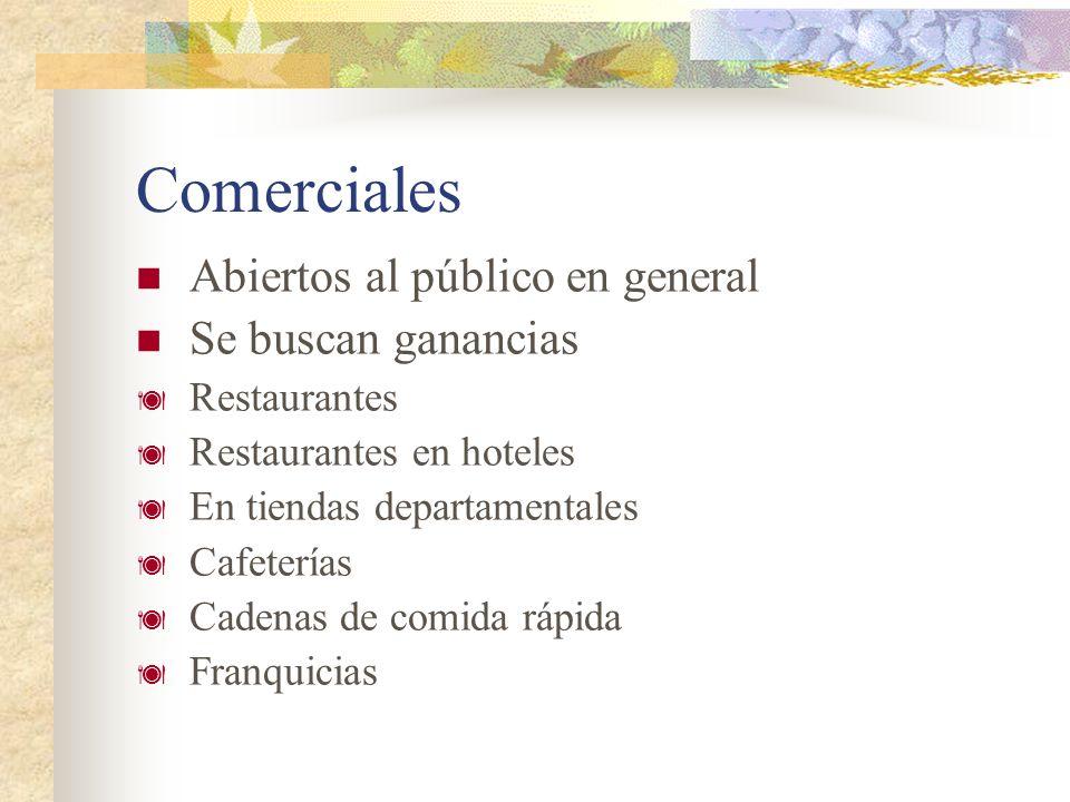 Comerciales Abiertos al público en general Se buscan ganancias Restaurantes Restaurantes en hoteles En tiendas departamentales Cafeterías Cadenas de c