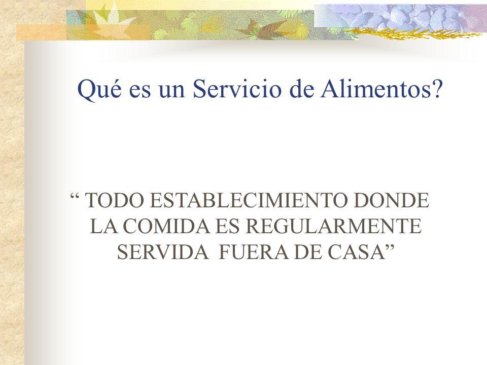 Qué es un Servicio de Alimentos? TODO ESTABLECIMIENTO DONDE LA COMIDA ES REGULARMENTE SERVIDA FUERA DE CASA