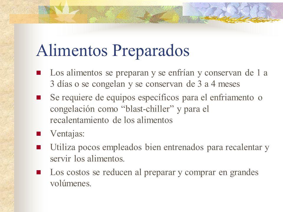 Alimentos Preparados Los alimentos se preparan y se enfrían y conservan de 1 a 3 días o se congelan y se conservan de 3 a 4 meses Se requiere de equip