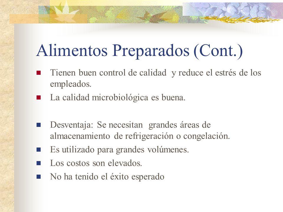 Alimentos Preparados (Cont.) Tienen buen control de calidad y reduce el estrés de los empleados. La calidad microbiológica es buena. Desventaja: Se ne