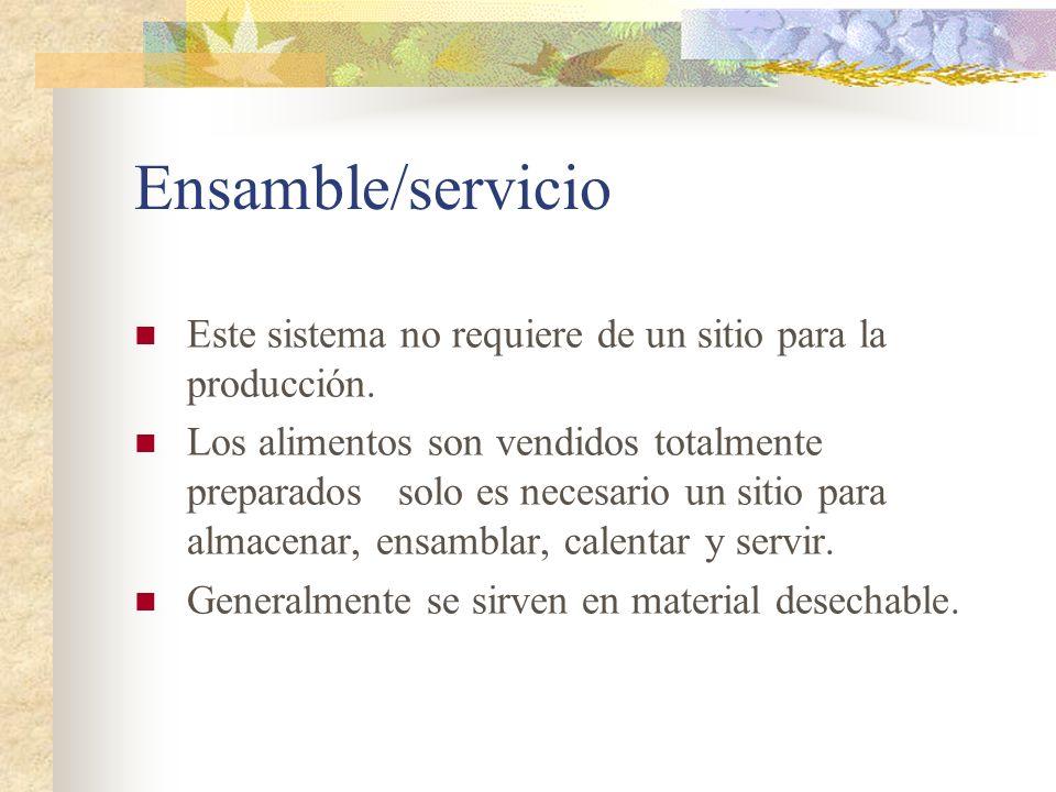 Ensamble/servicio Este sistema no requiere de un sitio para la producción. Los alimentos son vendidos totalmente preparados solo es necesario un sitio