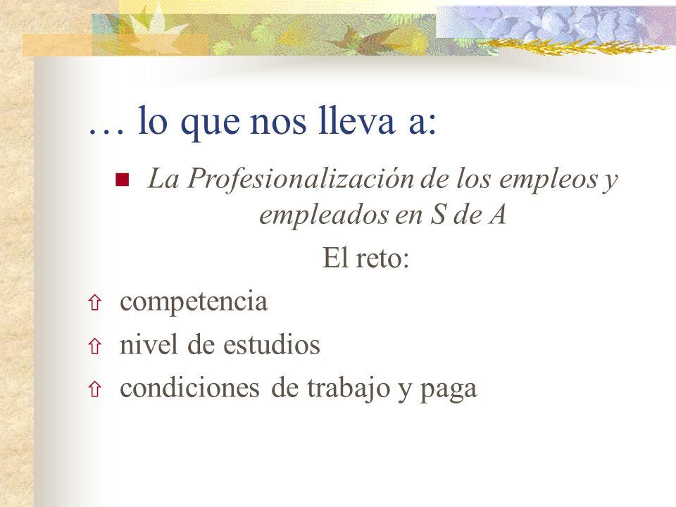 … lo que nos lleva a: La Profesionalización de los empleos y empleados en S de A El reto: competencia nivel de estudios condiciones de trabajo y paga