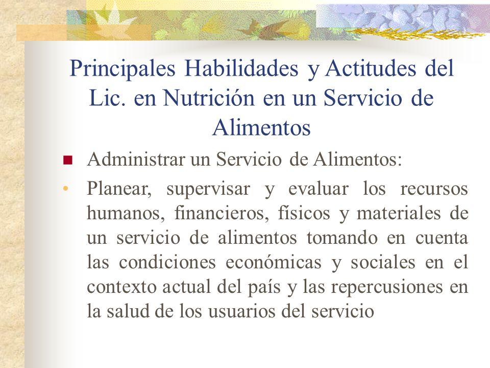 Principales Habilidades y Actitudes del Lic. en Nutrición en un Servicio de Alimentos Administrar un Servicio de Alimentos: Planear, supervisar y eval