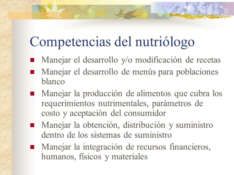 Competencias del nutriólogo Manejar el desarrollo y/o modificación de recetas Manejar el desarrollo de menús para poblaciones blanco Manejar la produc