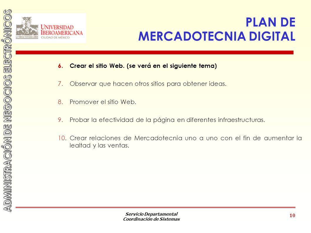 Servicio Departamental Coordinación de Sistemas 10 PLAN DE MERCADOTECNIA DIGITAL 6.Crear el sitio Web. (se verá en el siguiente tema) 7.Observar que h