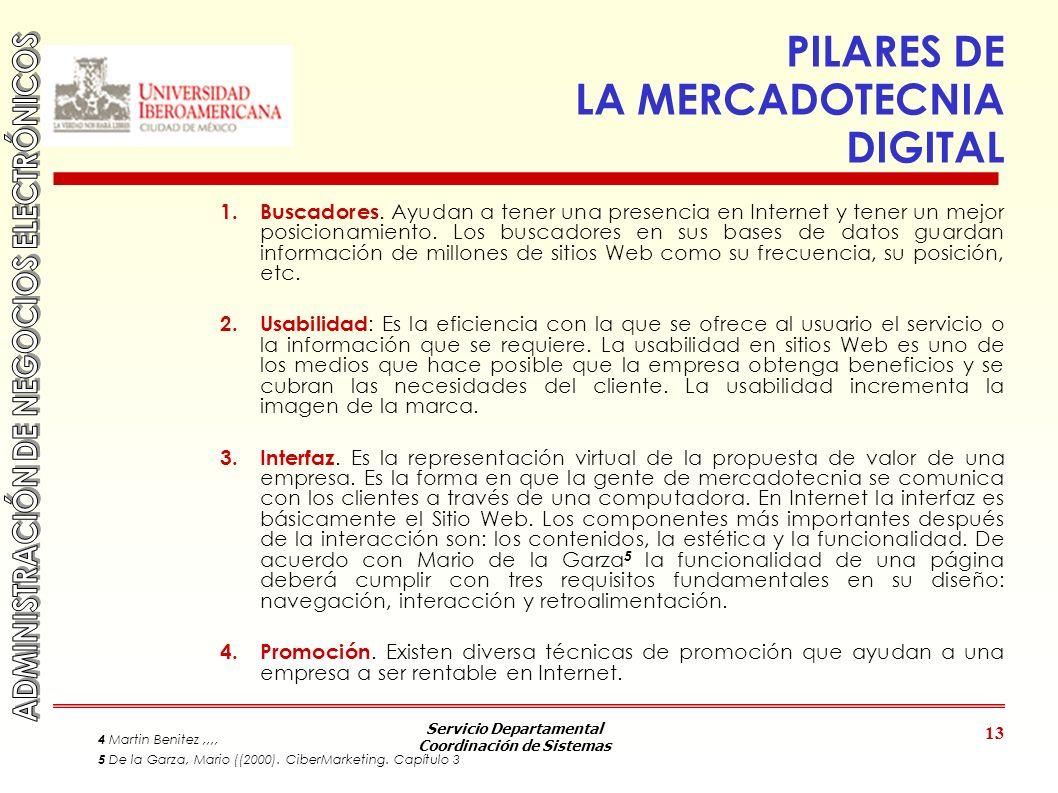 Servicio Departamental Coordinación de Sistemas 13 PILARES DE LA MERCADOTECNIA DIGITAL 1. Buscadores. Ayudan a tener una presencia en Internet y tener