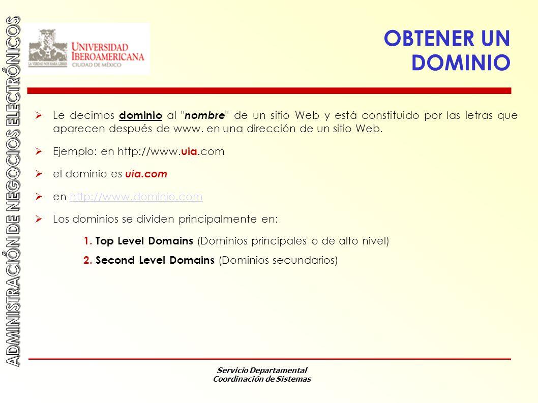 Servicio Departamental Coordinación de Sistemas OBTENER UN DOMINIO Le decimos dominio al