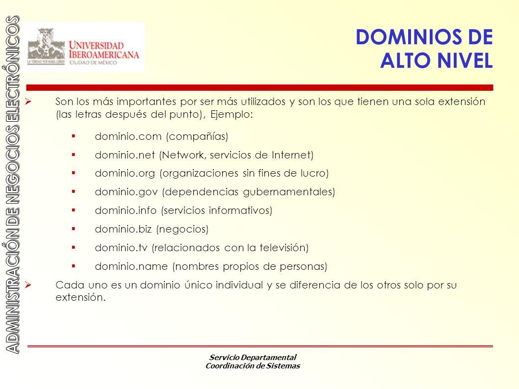 Servicio Departamental Coordinación de Sistemas DOMINIOS DE ALTO NIVEL Son los más importantes por ser más utilizados y son los que tienen una sola ex