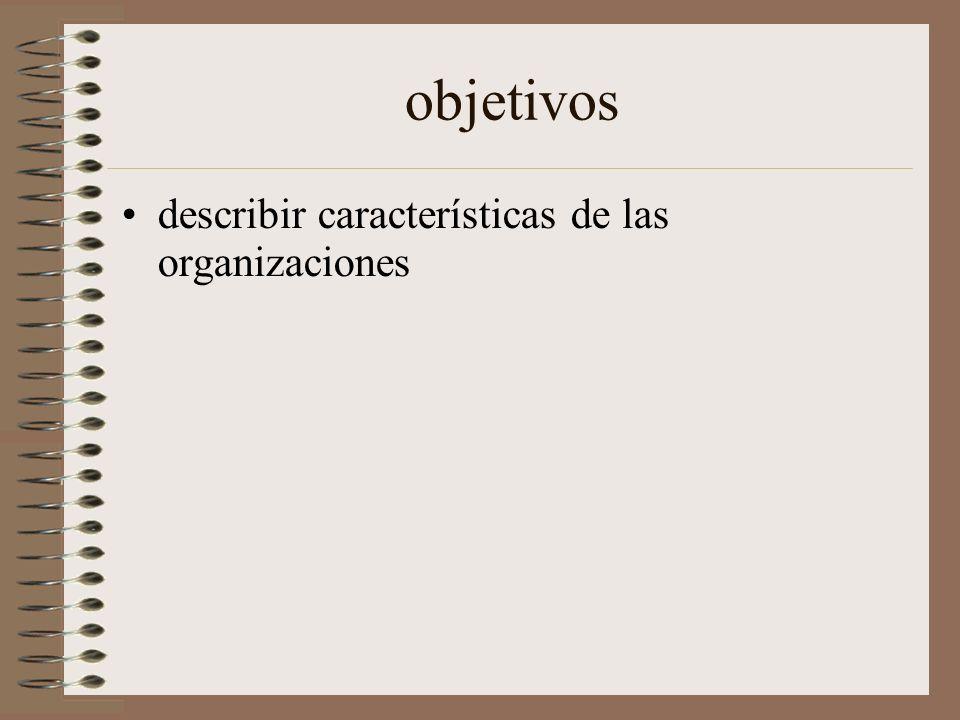 objetivos describir características de las organizaciones