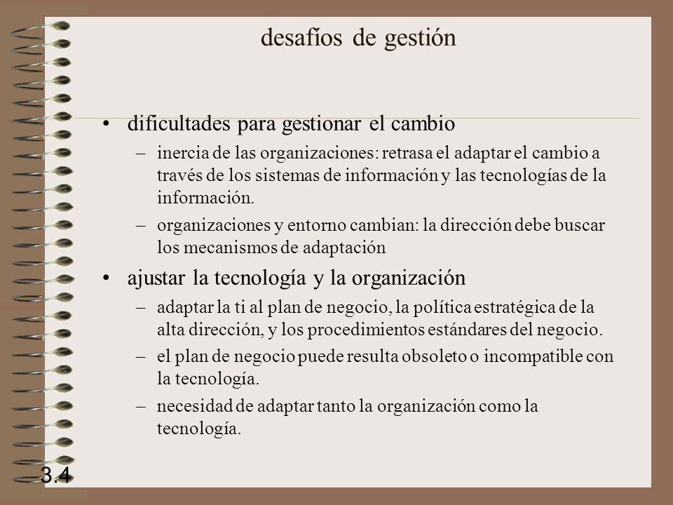 Factores de mediación: Entorno Cultura Estructura Procedimientos estándar Política Decisiones de gestión Oportunidad organización y sistemas de información SISTEMAS DE INFORMACIÓN 3.5 ORGANIZACIÓN