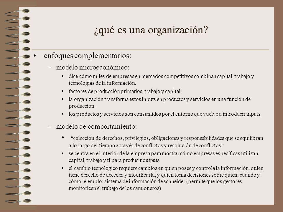 principales características de las organizaciones características comunes a las organizaciones –características estructurales clara división del trabajo jerarquía reglas y procedimientos explícitos juicios imparciales cualificaciones técnicas de los puestos máxima eficiencia organizativa –procedimientos operativos estándar (SOP, standard operating procedures) –política organizativa –cultura organizativa