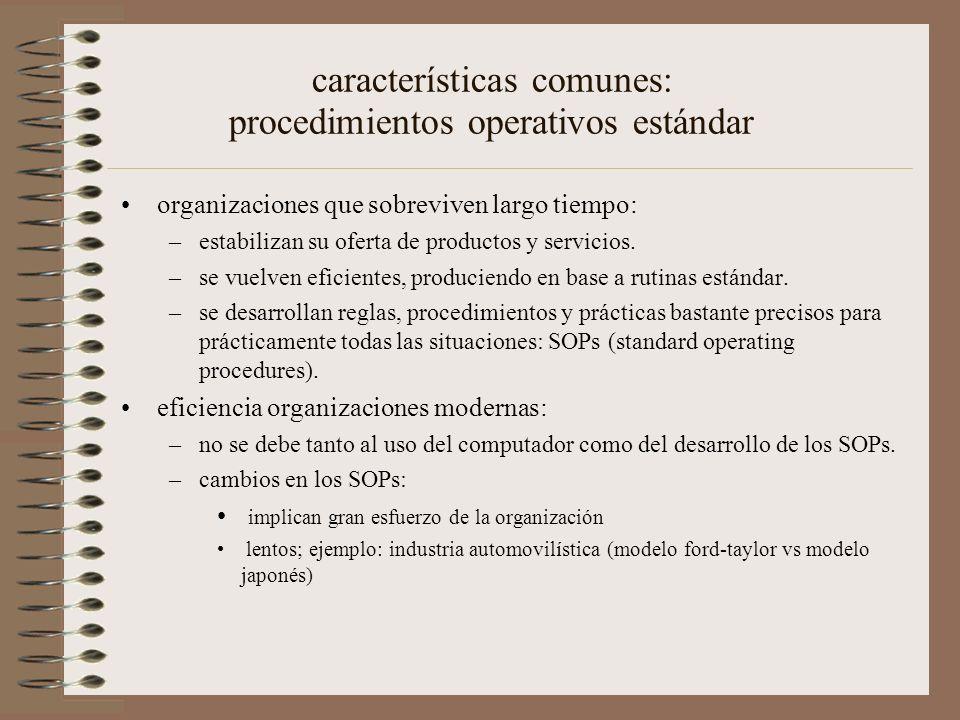 características comunes: procedimientos operativos estándar organizaciones que sobreviven largo tiempo: –estabilizan su oferta de productos y servicios.
