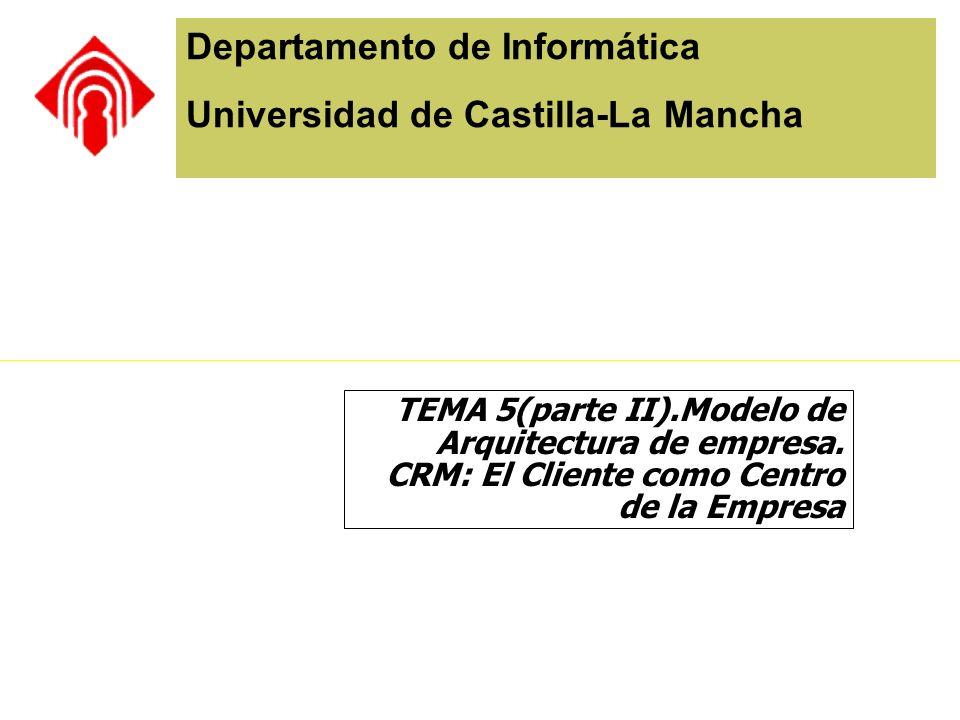 Departamento de Informática Universidad de Castilla-La Mancha TEMA 5(parte II).Modelo de Arquitectura de empresa. CRM: El Cliente como Centro de la Em