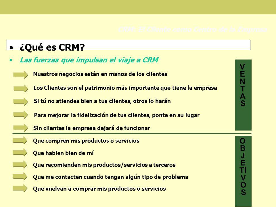¿Qué es CRM? Las fuerzas que impulsan el viaje a CRM CRM: El Cliente como Centro de la Empresa Nuestros negocios están en manos de los clientes Los Cl