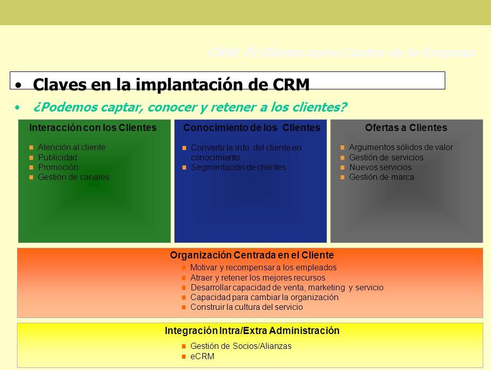 Claves en la implantación de CRM ¿Podemos captar, conocer y retener a los clientes? CRM: El Cliente como Centro de la Empresa Convertir la info. del c
