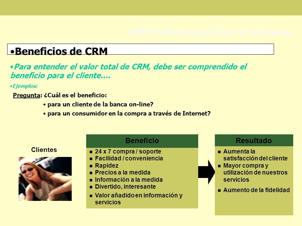 Beneficios de CRM Para entender el valor total de CRM, debe ser comprendido el beneficio para el cliente…. Ejemplos: CRM: El Cliente como Centro de la