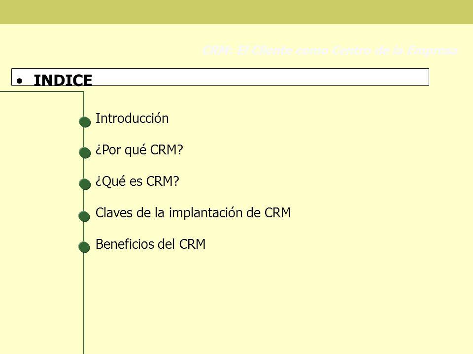 Claves en la implantación de CRM Conexión con el mercado CRM: El Cliente como Centro de la Empresa Empresas con BBDD inconexas NO HAY Resultados de campañas Conocimiento del cliente Resolución de Incidencias Cross- Selling PROVOCA Duplicidades Datos no objetivos Aumento de costes Empresas que conocen a sus clientes Base de datos inicial Normalización Desduplicación Enriquecimiento Base de datos final ABC de Clientes: Rentabilidad Satisfacción de Clientes Rentabilidad: Fidelidad Empresas que realizan MK relacional Test de BBDD y campañas BBDD Potenciales y de clientes Costes de captación de cliente Retención de clientes Incremento de Negocio Aún en estas empresas hay información que se queda en las Trincheras o en la alta dirección Empresas con Sistemas Intelig.