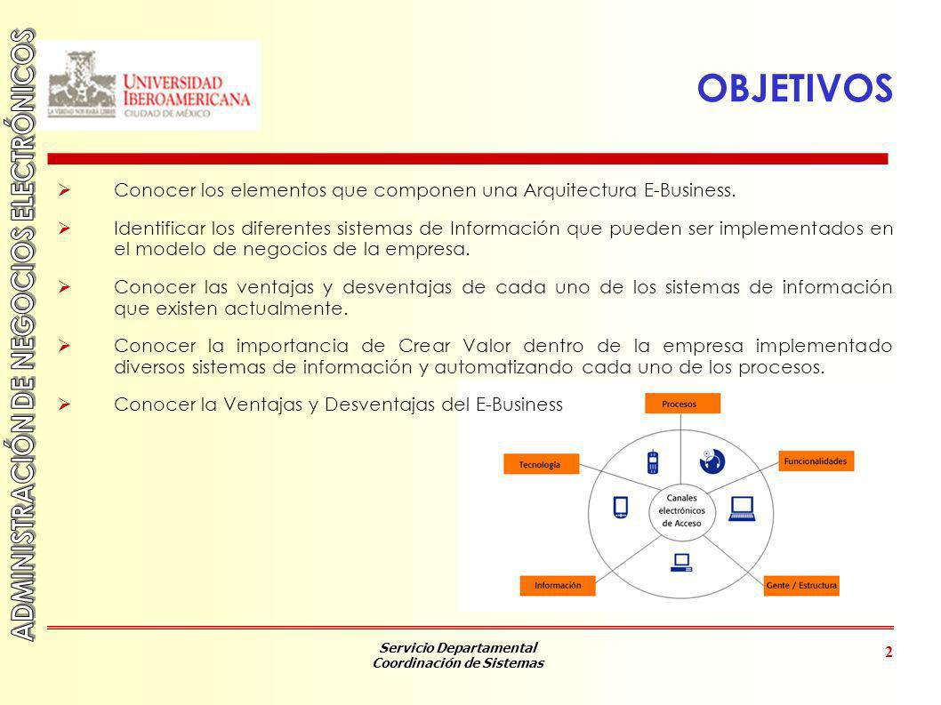 Servicio Departamental Coordinación de Sistemas 2 OBJETIVOS Conocer los elementos que componen una Arquitectura E-Business. Identificar los diferentes