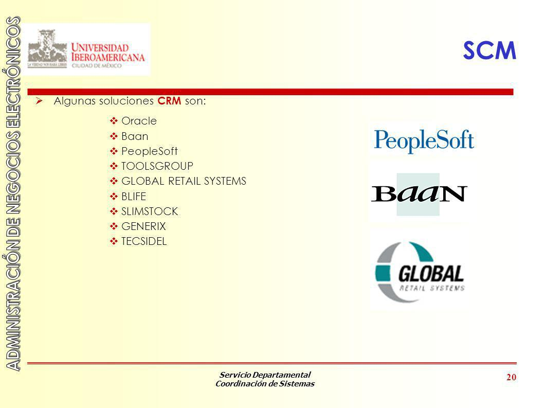 Servicio Departamental Coordinación de Sistemas 20 SCM Algunas soluciones CRM son: Oracle Baan PeopleSoft TOOLSGROUP GLOBAL RETAIL SYSTEMS BLIFE SLIMS