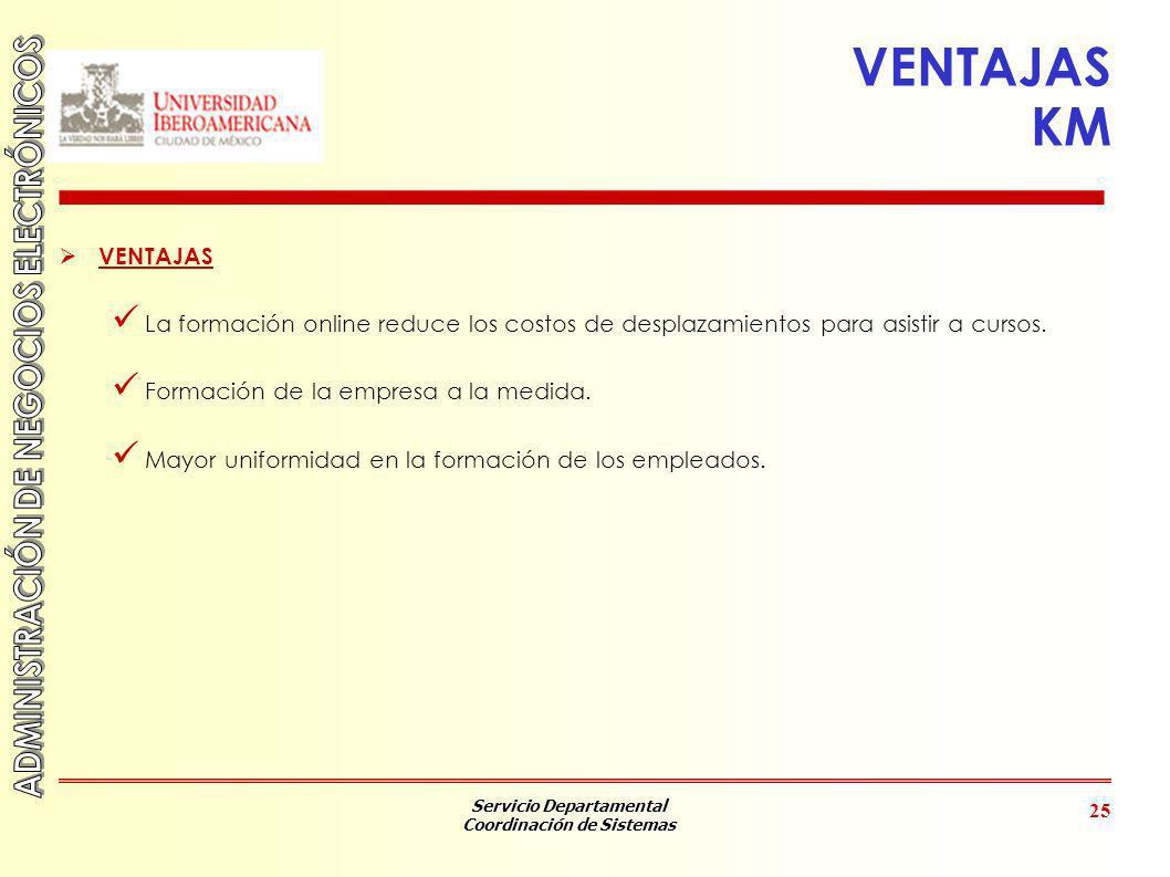 Servicio Departamental Coordinación de Sistemas 25 VENTAJAS KM VENTAJAS La formación online reduce los costos de desplazamientos para asistir a cursos