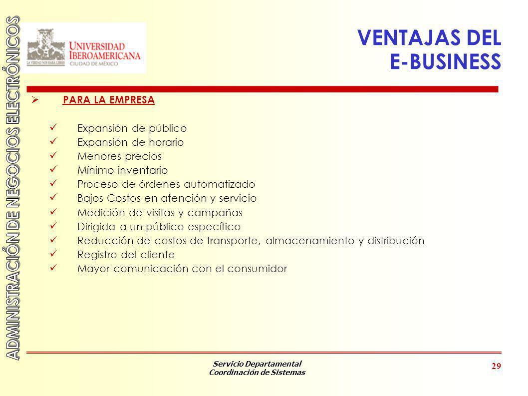 Servicio Departamental Coordinación de Sistemas 29 VENTAJAS DEL E-BUSINESS PARA LA EMPRESA Expansión de público Expansión de horario Menores precios M