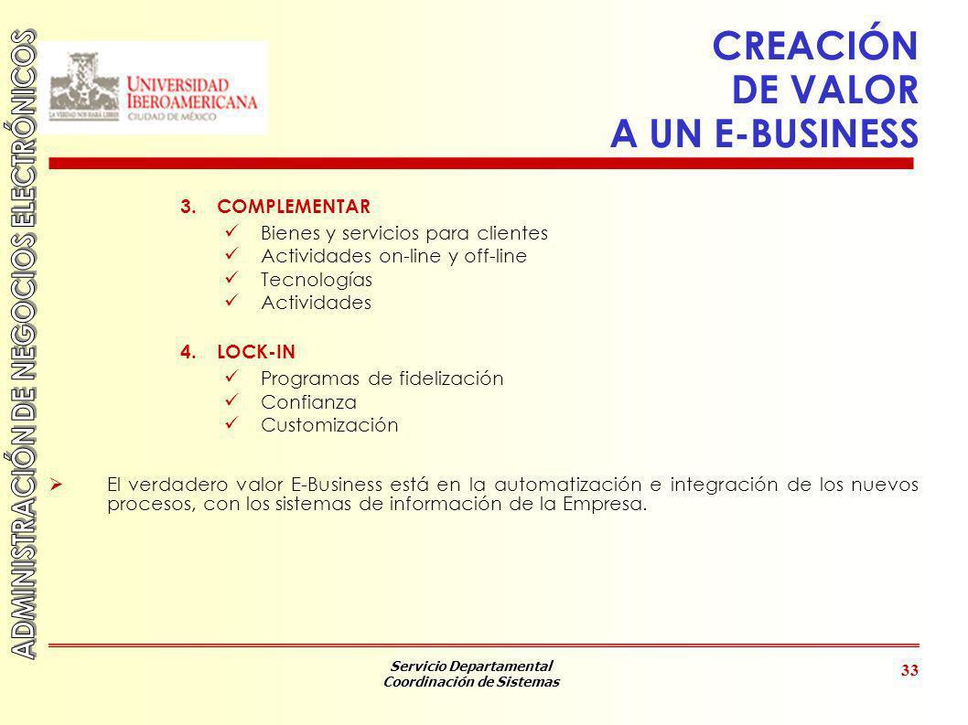 Servicio Departamental Coordinación de Sistemas 33 CREACIÓN DE VALOR A UN E-BUSINESS 3.COMPLEMENTAR Bienes y servicios para clientes Actividades on-li