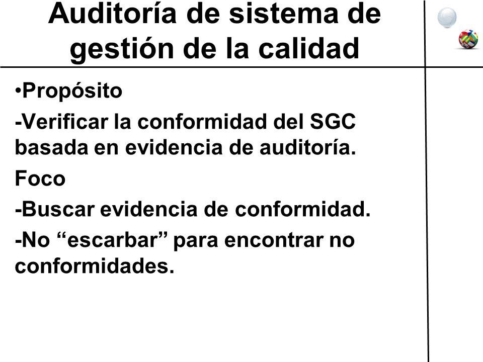 Auditoría de sistema de gestión de la calidad Propósito -Verificar la conformidad del SGC basada en evidencia de auditoría. Foco -Buscar evidencia de