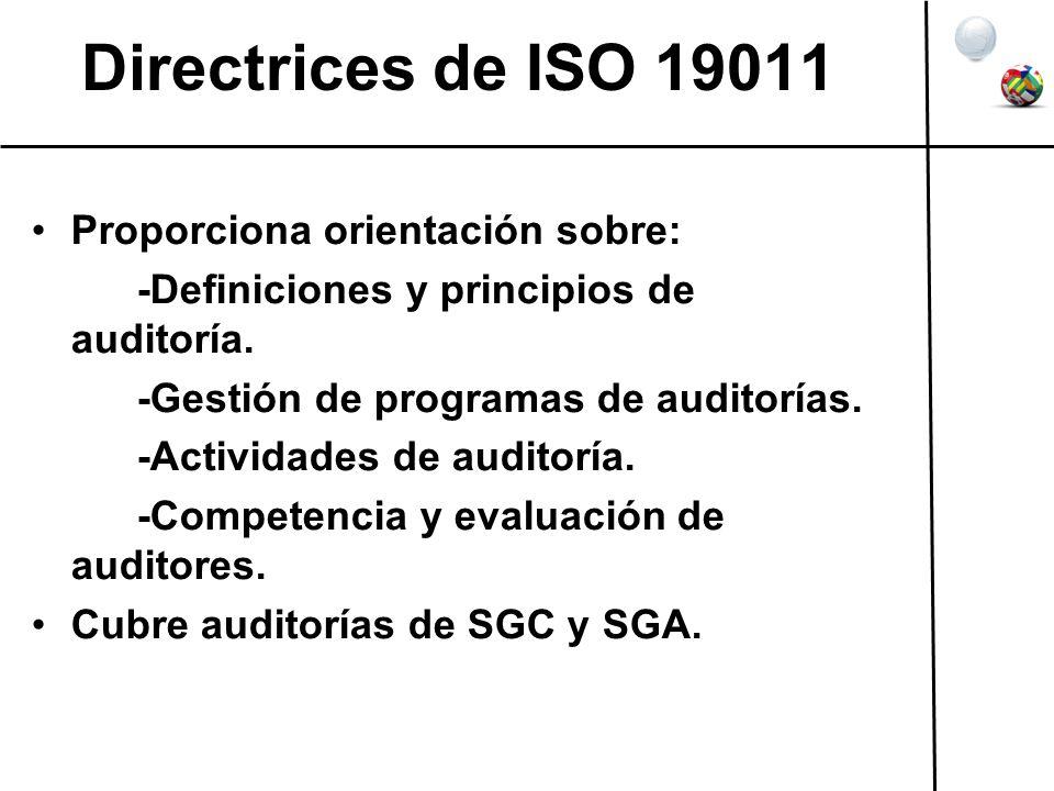 Directrices de ISO 19011 Proporciona orientación sobre: -Definiciones y principios de auditoría. -Gestión de programas de auditorías. -Actividades de